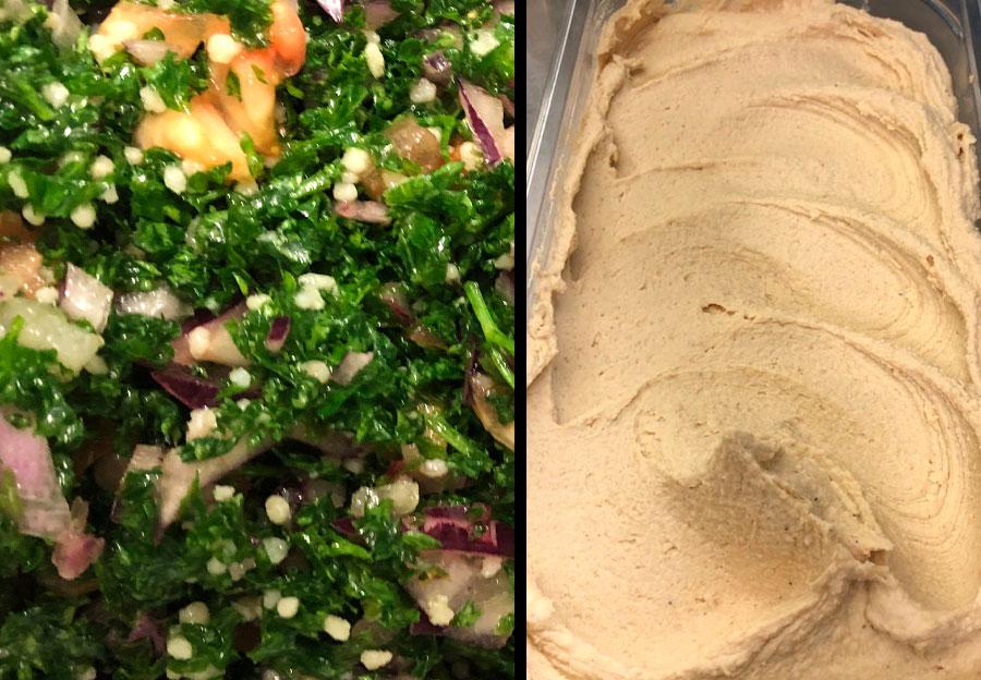 La nature : salade et houmos maison